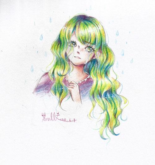色铅笔手绘:哭泣少女