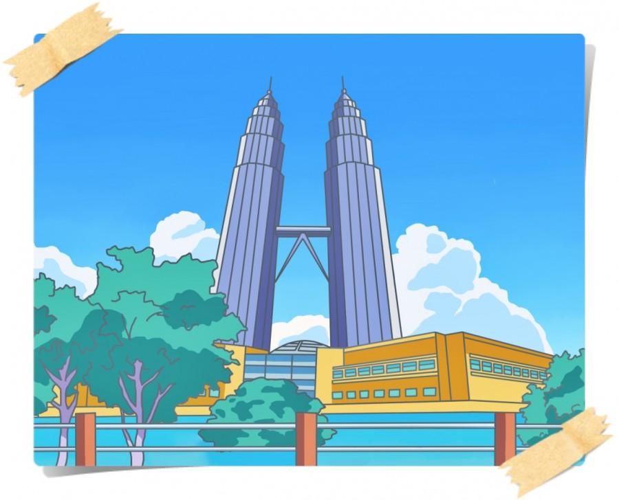画作《马来西亚双子塔》